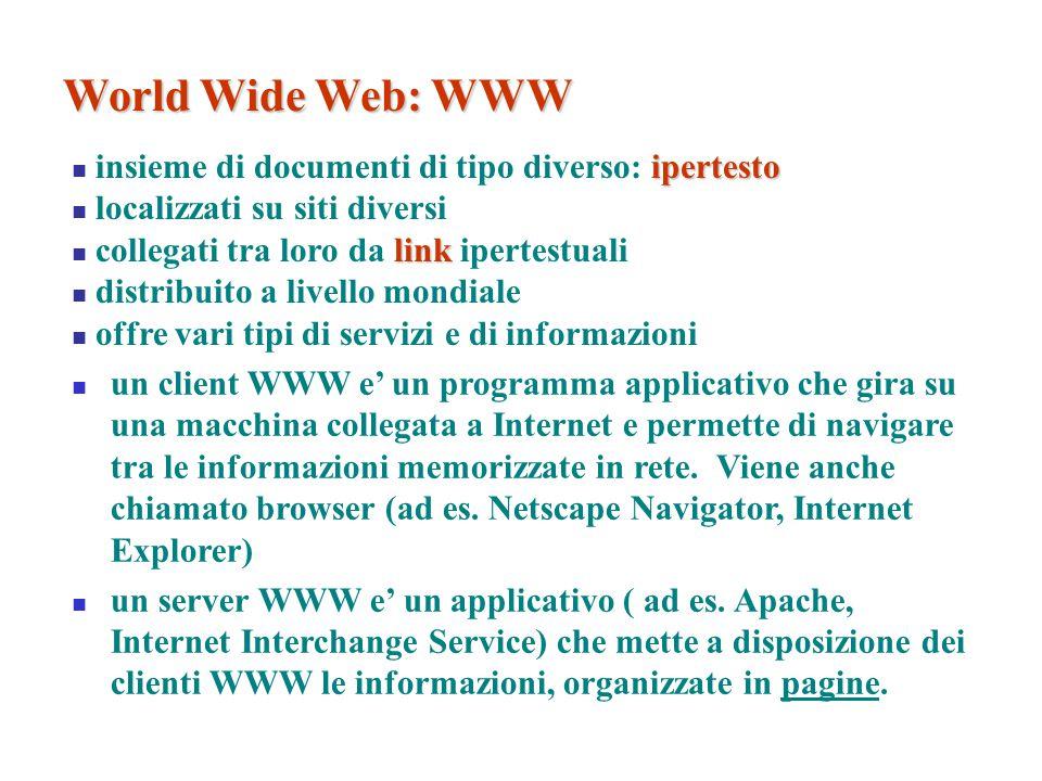 ipertesto insieme di documenti di tipo diverso: ipertesto localizzati su siti diversi link collegati tra loro da link ipertestuali distribuito a livel
