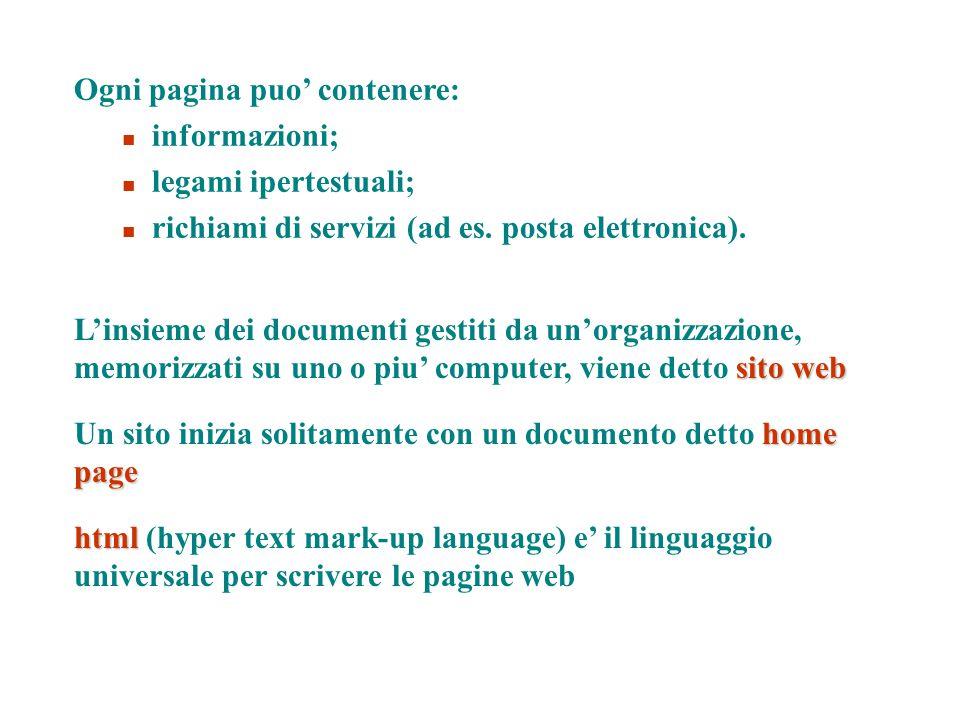 sito web L'insieme dei documenti gestiti da un'organizzazione, memorizzati su uno o piu' computer, viene detto sito web html html (hyper text mark-up