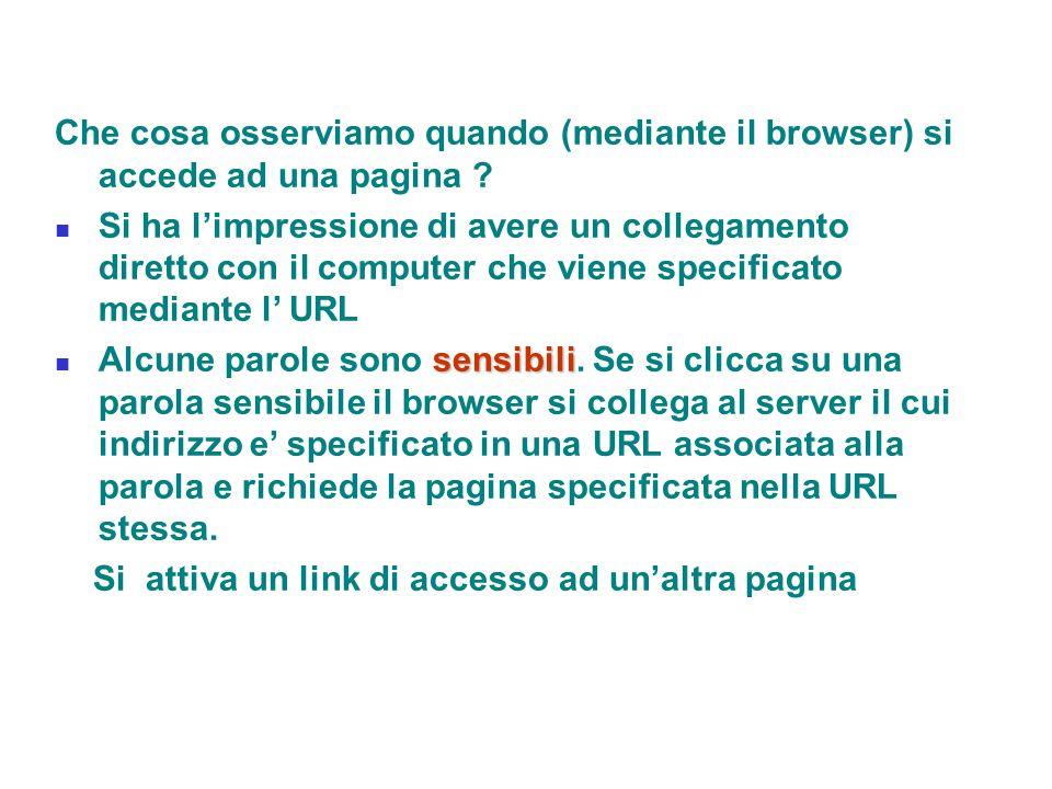 Che cosa osserviamo quando (mediante il browser) si accede ad una pagina ? Si ha l'impressione di avere un collegamento diretto con il computer che vi