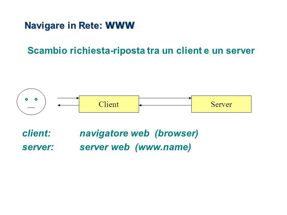 Navigare in Rete: WWW Scambio richiesta-riposta tra un client e un server client:navigatore web (browser) server:server web (www.name) ClientServer