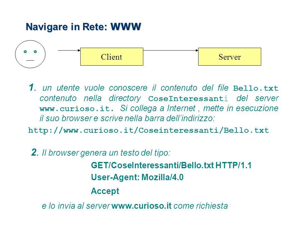 Navigare in Rete: WWW 1. un utente vuole conoscere il contenuto del file Bello.txt contenuto nella directory CoseInteressanti del server www.curioso.i