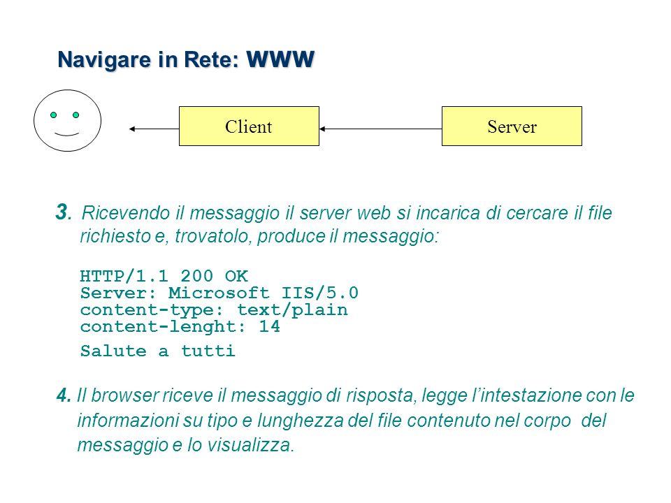 Navigare in Rete: WWW 3. Ricevendo il messaggio il server web si incarica di cercare il file richiesto e, trovatolo, produce il messaggio: HTTP/1.1 20