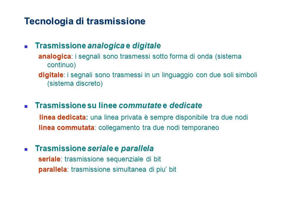 Tecnologia di trasmissione Trasmissione analogica e digitale Trasmissione analogica e digitale analogica: i segnali sono trasmessi sotto forma di onda
