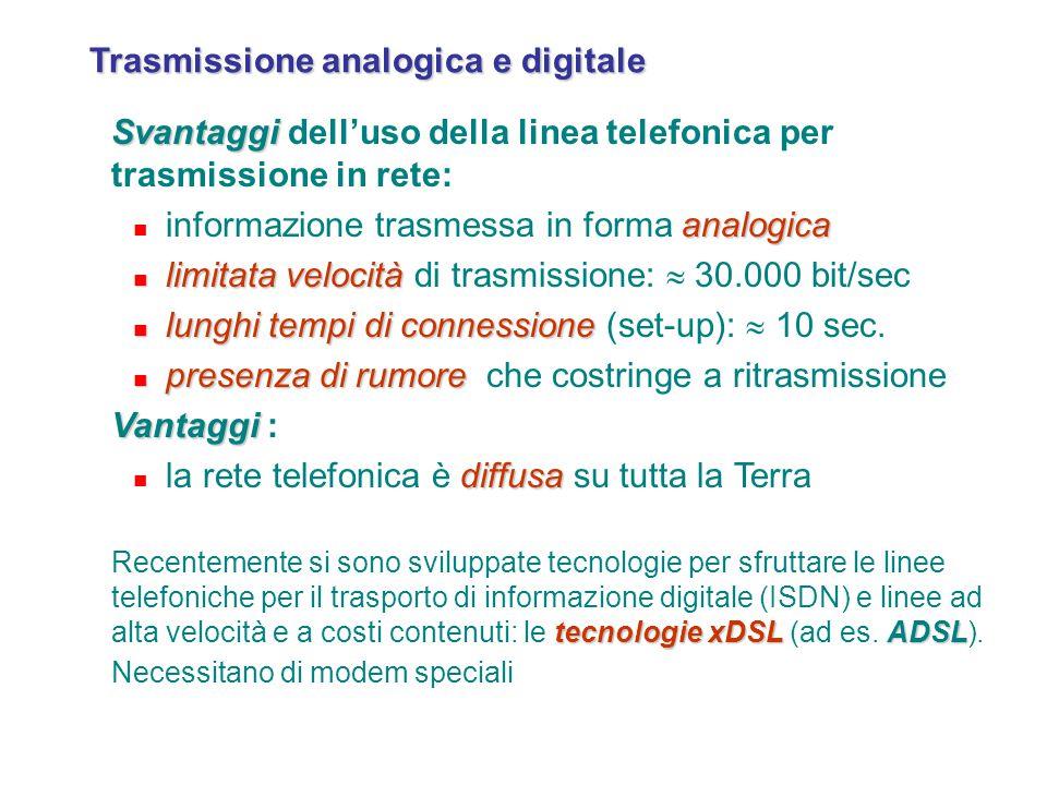 Trasmissione analogica e digitale Svantaggi Svantaggi dell'uso della linea telefonica per trasmissione in rete: analogica informazione trasmessa in fo