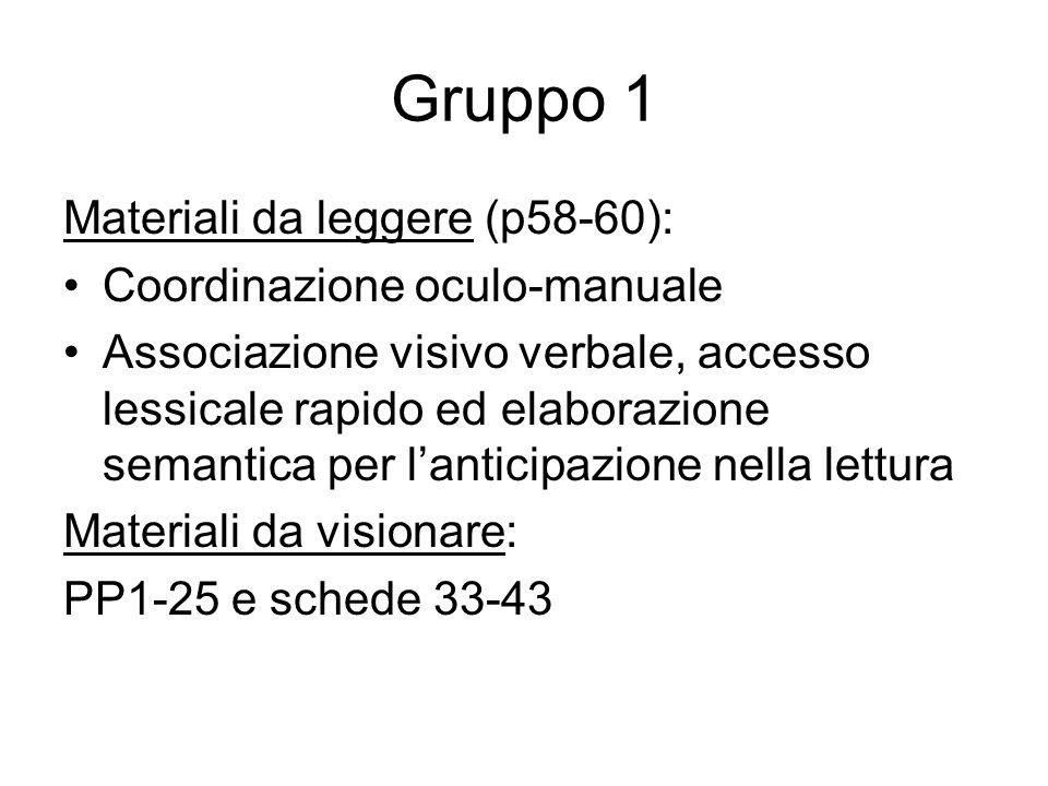 Gruppo 2 Materiali da leggere (p60-63) (Comprensione del testo): Conoscenza lessicale Comprensione strutture sintattiche Capacità di fare inferenze semantiche Comprensione di un racconto Materiali da visionare: PP32-60 e schede 44-49