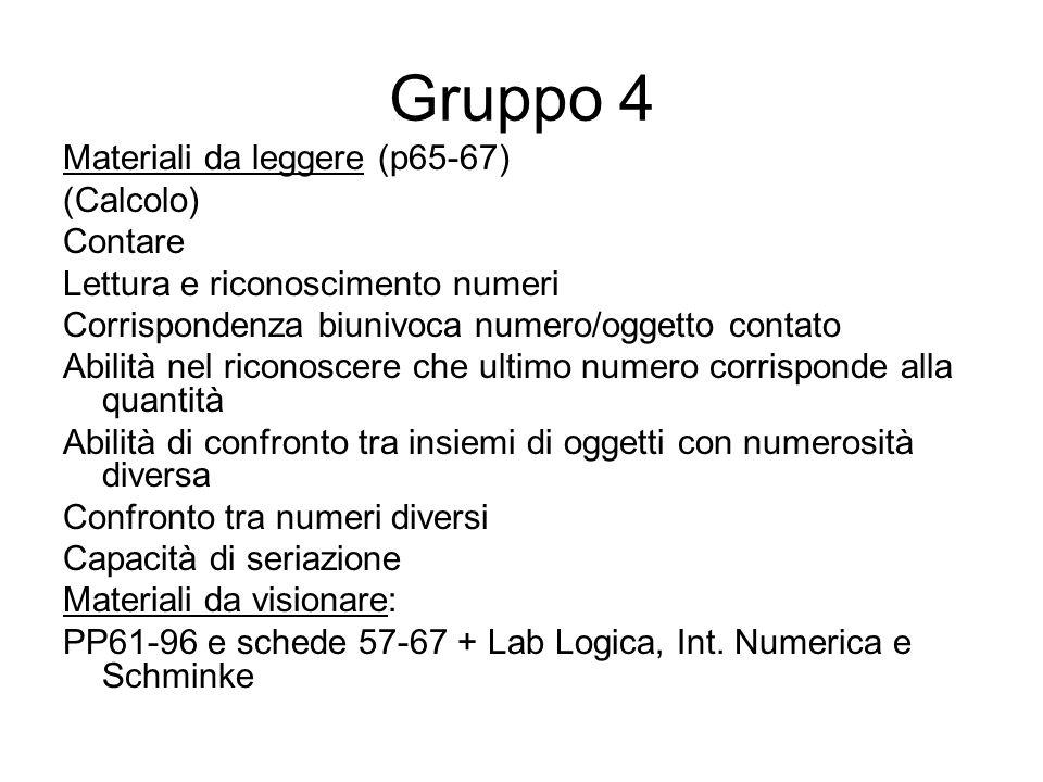 Gruppo 4 Materiali da leggere (p65-67) (Calcolo) Contare Lettura e riconoscimento numeri Corrispondenza biunivoca numero/oggetto contato Abilità nel r