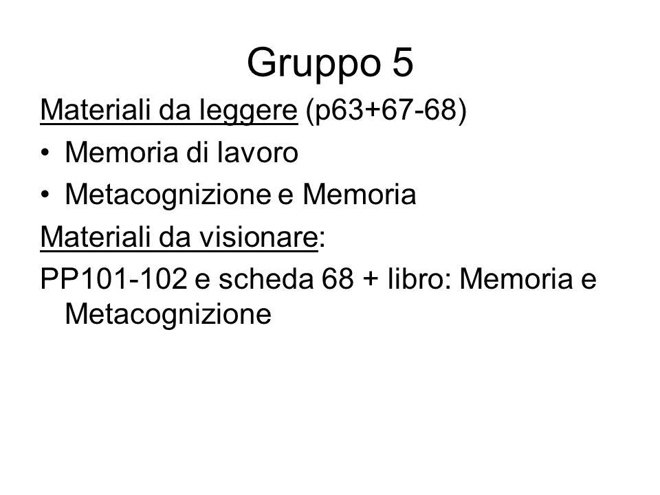 Gruppo 5 Materiali da leggere (p63+67-68) Memoria di lavoro Metacognizione e Memoria Materiali da visionare: PP101-102 e scheda 68 + libro: Memoria e