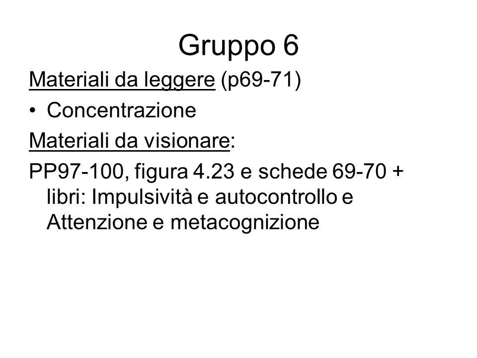 Gruppo 6 Materiali da leggere (p69-71) Concentrazione Materiali da visionare: PP97-100, figura 4.23 e schede 69-70 + libri: Impulsività e autocontroll