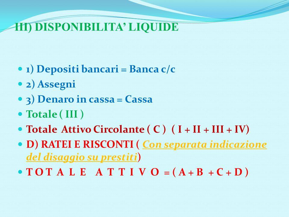 III) DISPONIBILITA' LIQUIDE 1) Depositi bancari = Banca c/c 2) Assegni 3) Denaro in cassa = Cassa Totale ( III ) Totale Attivo Circolante ( C ) ( I + II + III + IV) D) RATEI E RISCONTI ( Con separata indicazione del disaggio su prestiti) T O T A L E A T T I V O = ( A + B + C + D )