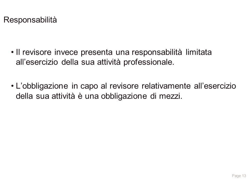 Page 13 Responsabilità Il revisore invece presenta una responsabilità limitata all'esercizio della sua attività professionale.