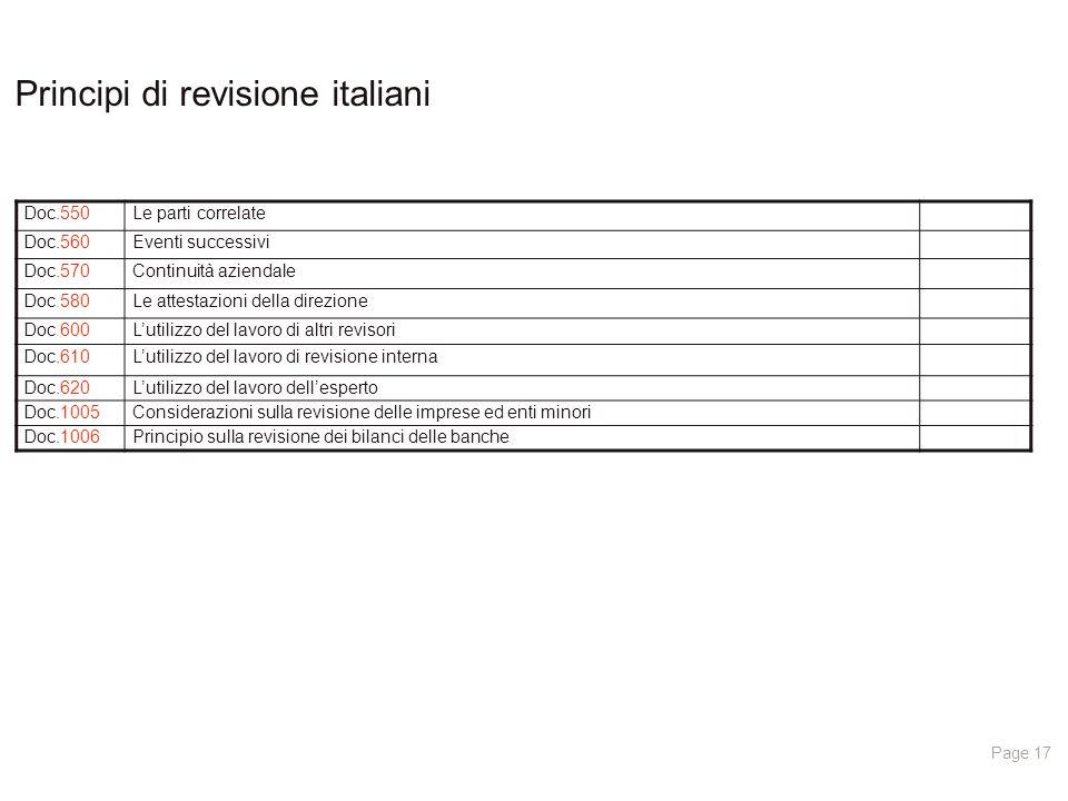 Page 17 Principi di revisione italiani Doc.550Le parti correlate Doc.560Eventi successivi Doc.570Continuità aziendale Doc.580Le attestazioni della direzione Doc.600L'utilizzo del lavoro di altri revisori Doc.610L'utilizzo del lavoro di revisione interna Doc.620L'utilizzo del lavoro dell'esperto Doc.1005Considerazioni sulla revisione delle imprese ed enti minori Doc.1006Principio sulla revisione dei bilanci delle banche
