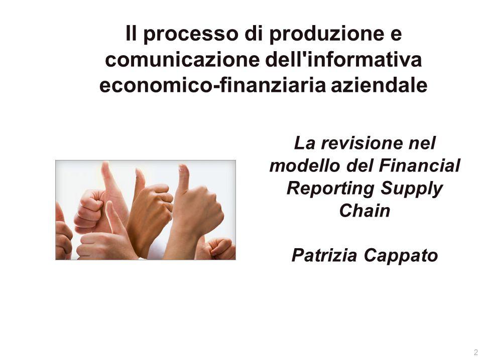 La revisione nel modello del Financial Reporting Supply Chain Patrizia Cappato 2 Il processo di produzione e comunicazione dell informativa economico-finanziaria aziendale