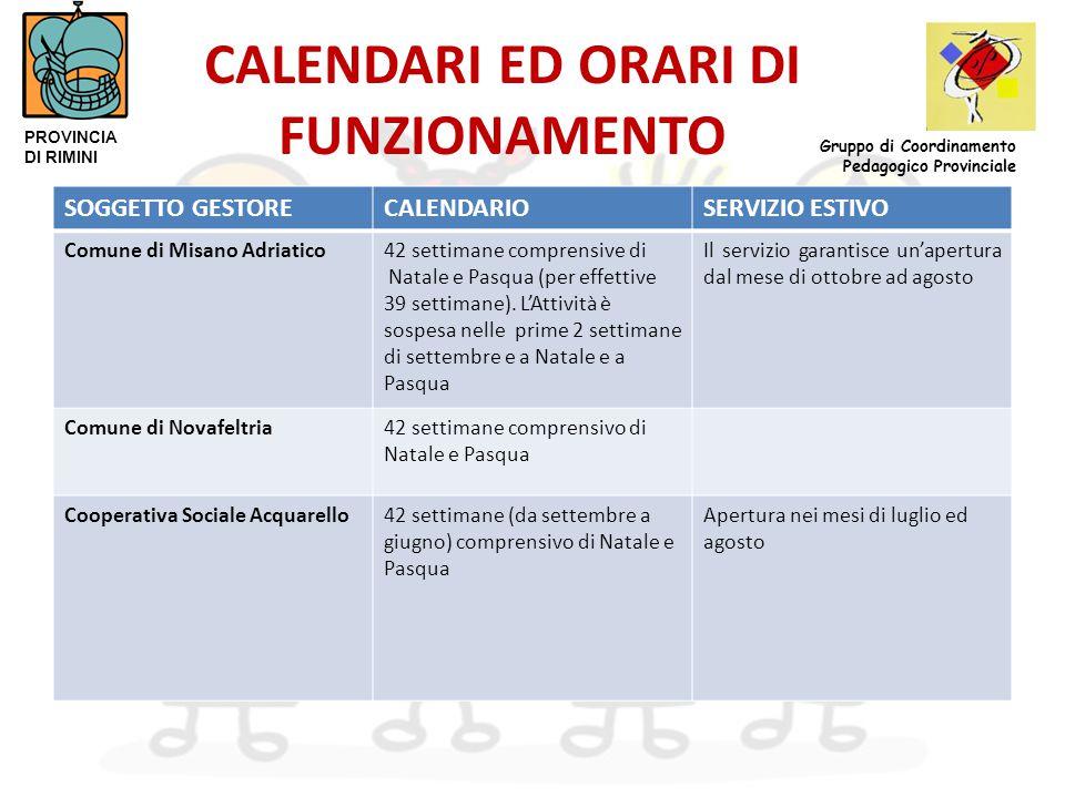CALENDARI ED ORARI DI FUNZIONAMENTO SOGGETTO GESTORECALENDARIOSERVIZIO ESTIVO Comune di Misano Adriatico42 settimane comprensive di Natale e Pasqua (per effettive 39 settimane).