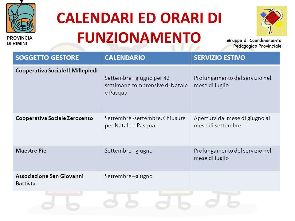 CALENDARI ED ORARI DI FUNZIONAMENTO SOGGETTO GESTORECALENDARIOSERVIZIO ESTIVO Cooperativa Sociale Il Millepiedi Settembre –giugno per 42 settimane com