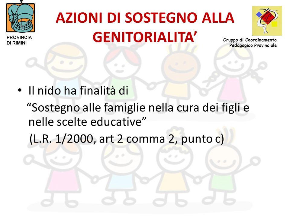 """AZIONI DI SOSTEGNO ALLA GENITORIALITA' Il nido ha finalità di """"Sostegno alle famiglie nella cura dei figli e nelle scelte educative"""" (L.R. 1/2000, art"""