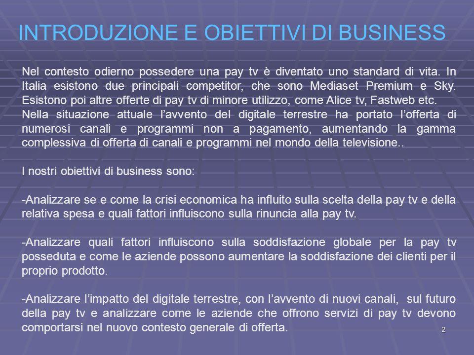 INTRODUZIONE E OBIETTIVI DI BUSINESS Nel contesto odierno possedere una pay tv è diventato uno standard di vita.