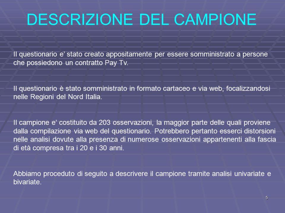 DESCRIZIONE DEL CAMPIONE Il questionario e' stato creato appositamente per essere somministrato a persone che possiedono un contratto Pay Tv.