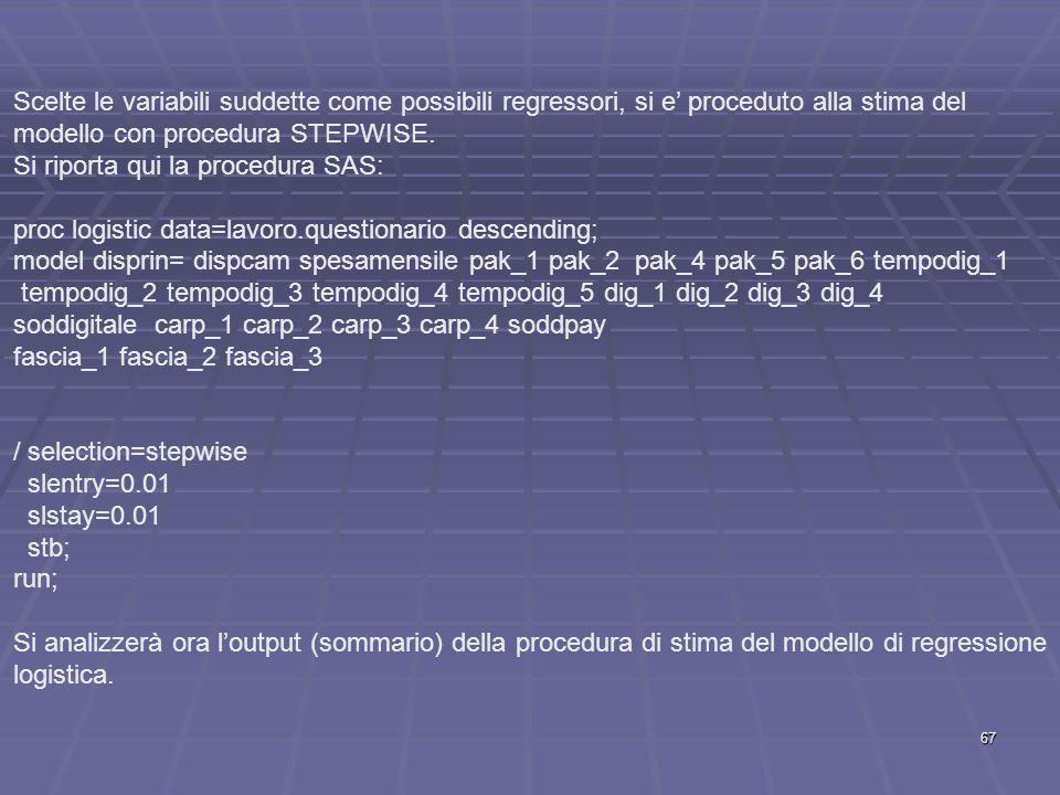 Scelte le variabili suddette come possibili regressori, si e' proceduto alla stima del modello con procedura STEPWISE.
