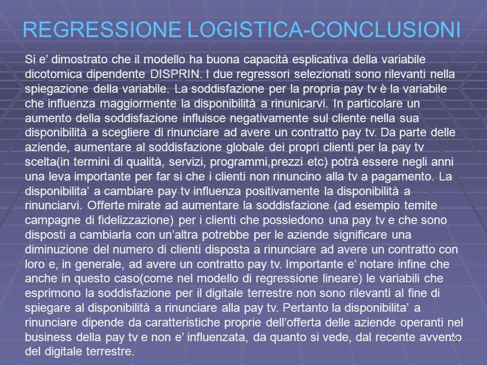 REGRESSIONE LOGISTICA-CONCLUSIONI Si e' dimostrato che il modello ha buona capacità esplicativa della variabile dicotomica dipendente DISPRIN.