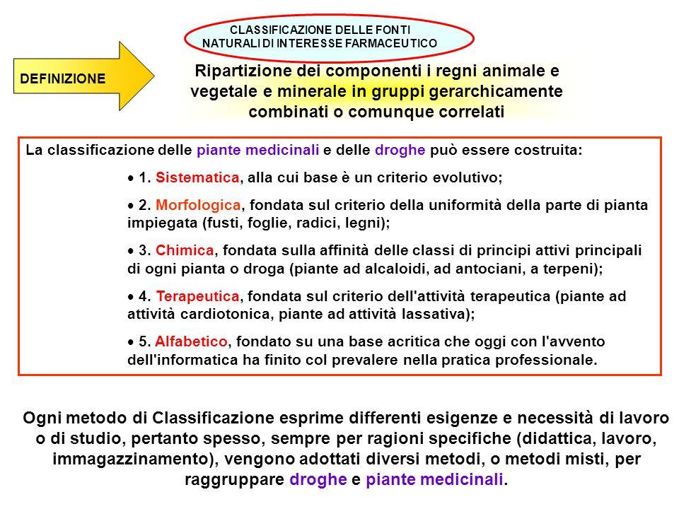Ripartizione dei componenti i regni animale e vegetale e minerale in gruppi gerarchicamente combinati o comunque correlati La classificazione delle pi