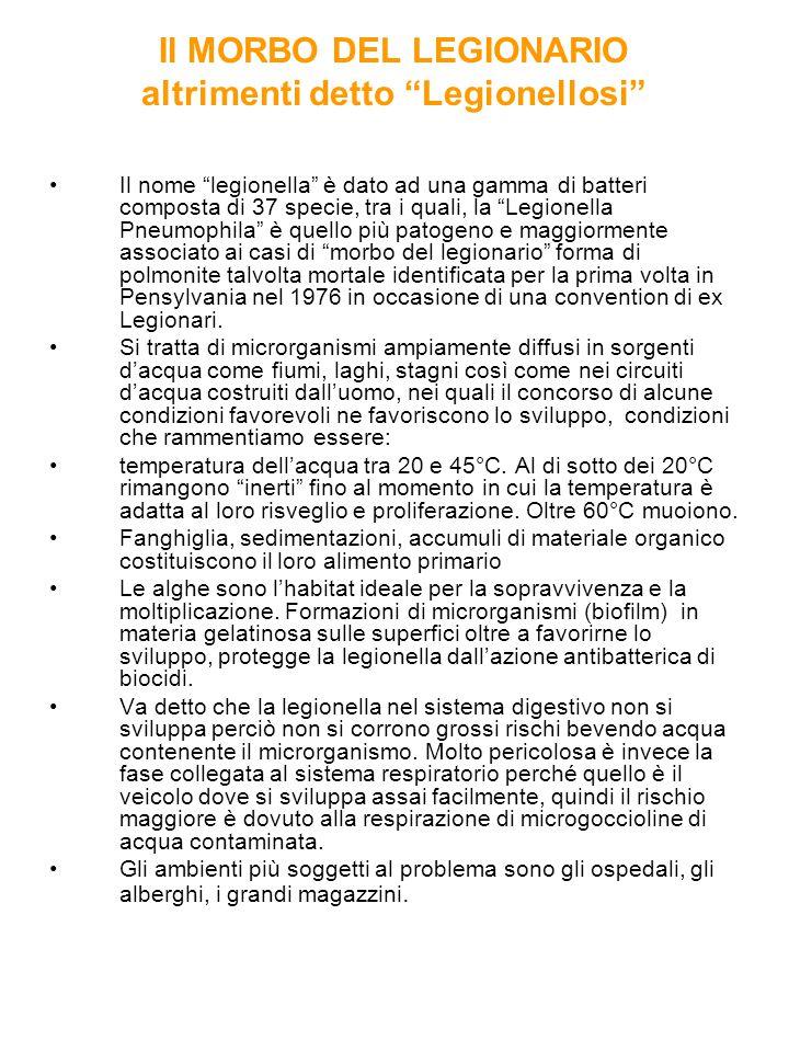 Il MORBO DEL LEGIONARIO altrimenti detto Legionellosi Il nome legionella è dato ad una gamma di batteri composta di 37 specie, tra i quali, la Legionella Pneumophila è quello più patogeno e maggiormente associato ai casi di morbo del legionario forma di polmonite talvolta mortale identificata per la prima volta in Pensylvania nel 1976 in occasione di una convention di ex Legionari.