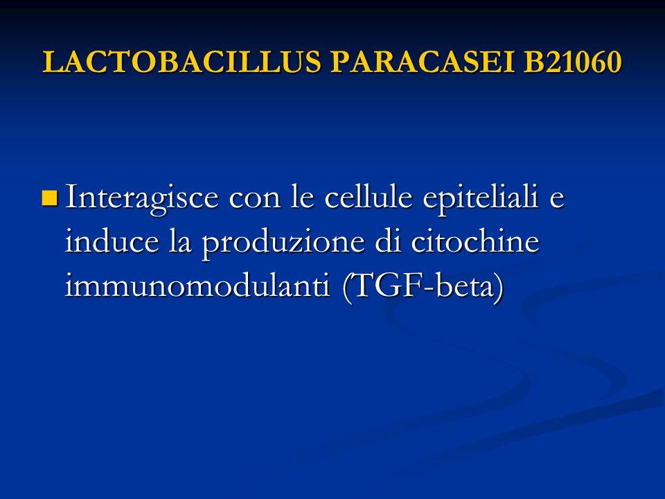 LACTOBACILLUS PARACASEI B21060 Interagisce con le cellule epiteliali e induce la produzione di citochine immunomodulanti (TGF-beta) Interagisce con le cellule epiteliali e induce la produzione di citochine immunomodulanti (TGF-beta)