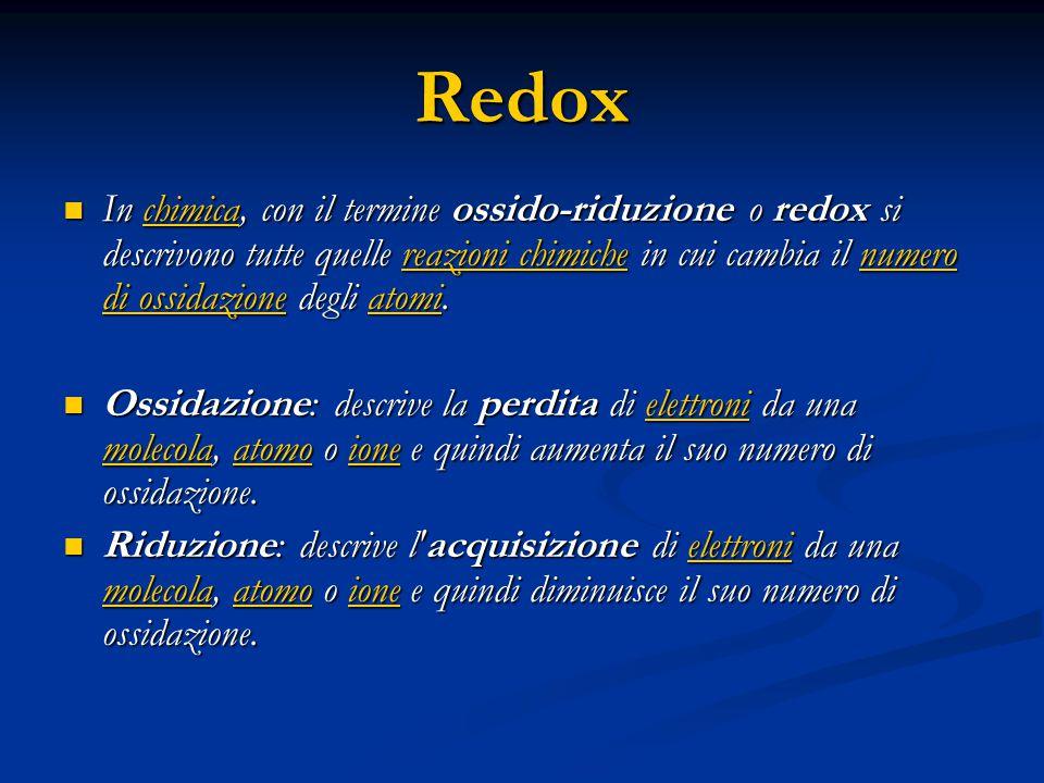 Redox In chimica, con il termine ossido-riduzione o redox si descrivono tutte quelle reazioni chimiche in cui cambia il numero di ossidazione degli atomi.