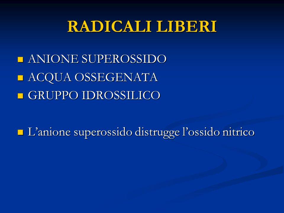 RADICALI LIBERI ANIONE SUPEROSSIDO ANIONE SUPEROSSIDO ACQUA OSSEGENATA ACQUA OSSEGENATA GRUPPO IDROSSILICO GRUPPO IDROSSILICO L'anione superossido distrugge l'ossido nitrico L'anione superossido distrugge l'ossido nitrico