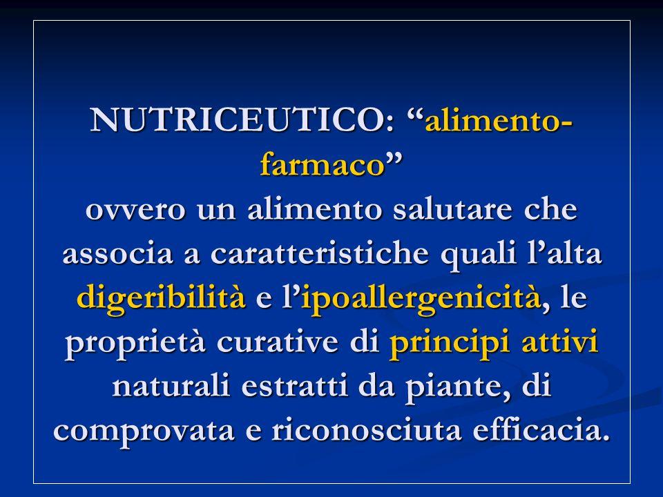 NUTRICEUTICO: alimento- farmaco ovvero un alimento salutare che associa a caratteristiche quali l'alta digeribilità e l'ipoallergenicità, le proprietà curative di principi attivi naturali estratti da piante, di comprovata e riconosciuta efficacia.