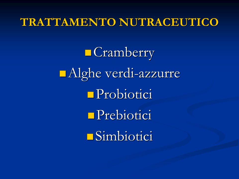 TRATTAMENTO NUTRACEUTICO Cramberry Cramberry Alghe verdi-azzurre Alghe verdi-azzurre Probiotici Probiotici Prebiotici Prebiotici Simbiotici Simbiotici