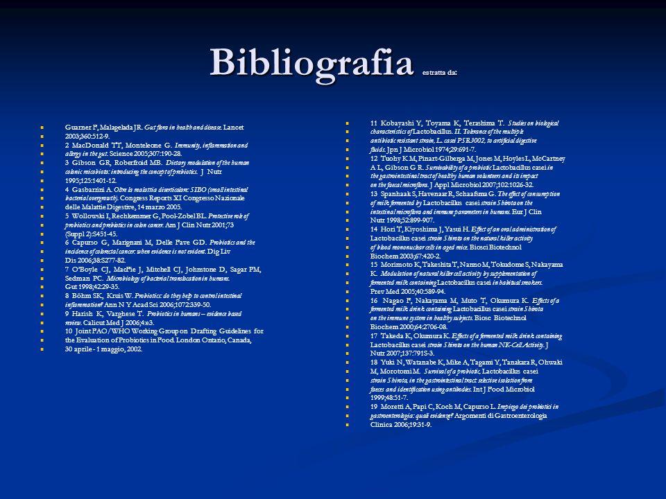 Bibliografia estratta da: Guarner F, Malagelada JR.