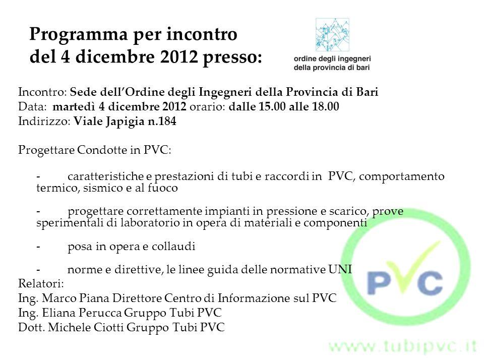 Programma per incontro del 4 dicembre 2012 presso: Incontro: Sede dell'Ordine degli Ingegneri della Provincia di Bari Data: martedì 4 dicembre 2012 or