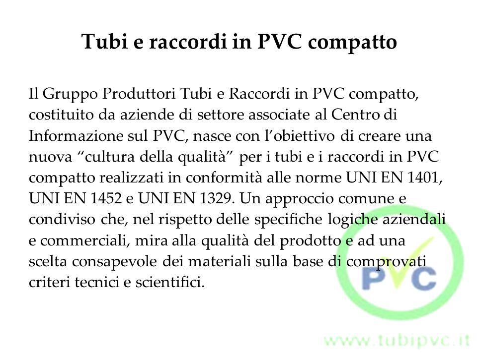 Tubi e raccordi in PVC compatto Il Gruppo Produttori Tubi e Raccordi in PVC compatto, costituito da aziende di settore associate al Centro di Informaz