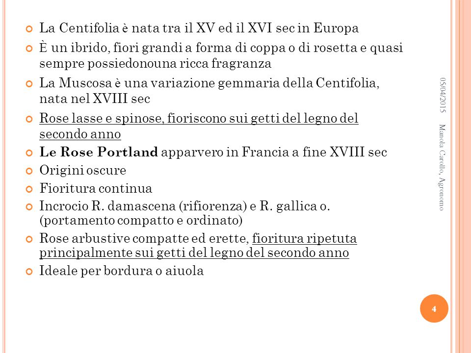 05/04/2015Manola Carollo, Agronomo 5 Gallica Officinalis Gallica Versicolor Celsiana Quatre Saison Blanc Mousseux E SEMPI DI ROSE GALLICA E DAMASCO