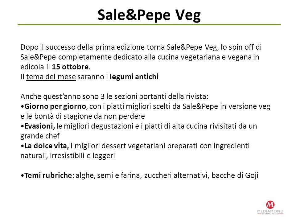 Sale&Pepe Veg Dopo il successo della prima edizione torna Sale&Pepe Veg, lo spin off di Sale&Pepe completamente dedicato alla cucina vegetariana e veg