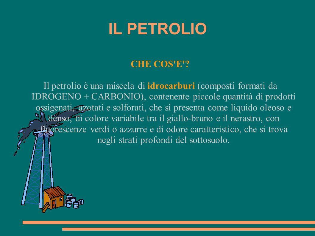 CHE COS'E'? Il petrolio è una miscela di idrocarburi (composti formati da IDROGENO + CARBONIO), contenente piccole quantità di prodotti ossigenati, az
