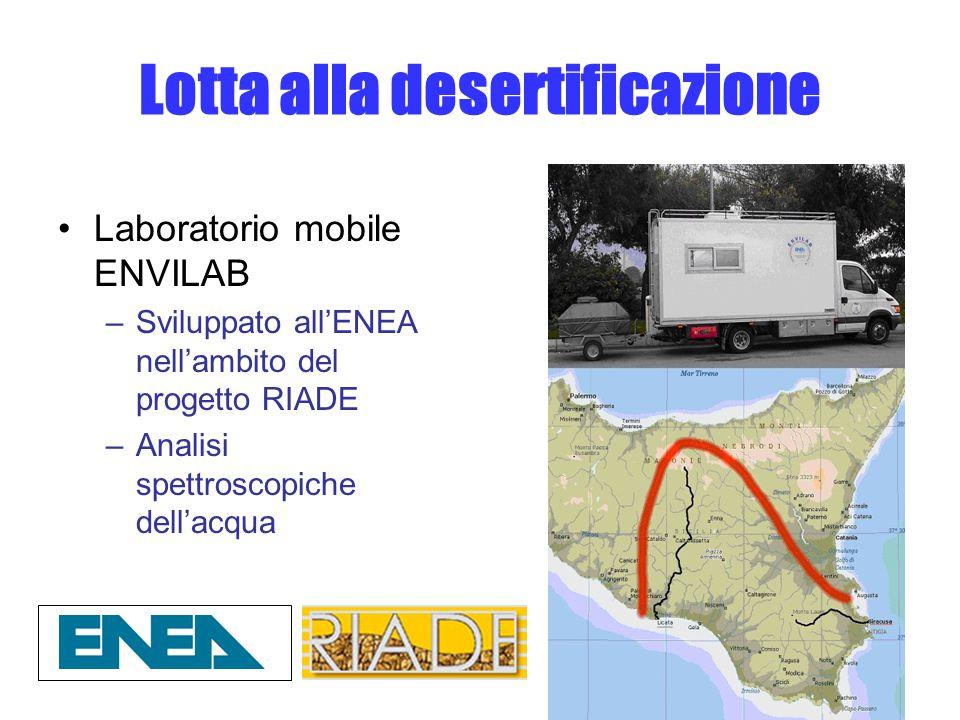 Lotta alla desertificazione Laboratorio mobile ENVILAB –Sviluppato all'ENEA nell'ambito del progetto RIADE –Analisi spettroscopiche dell'acqua
