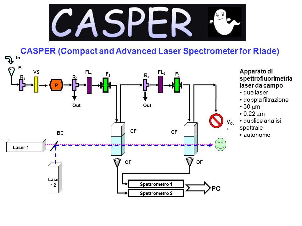 CASPER (Compact and Advanced Laser Spectrometer for Riade) In R1R1 P Out FL 1 Out F2F2 R2R2 F1F1 F3F3 FL 2 R3R3 V Ou t BC Spettrometro 2 Spettrometro 1 PC Laser 1 Lase r 2 OF CF VS Apparato di spettrofluorimetria laser da campo due laser doppia filtrazione 30  m 0.22  m duplice analisi spettrale autonomo