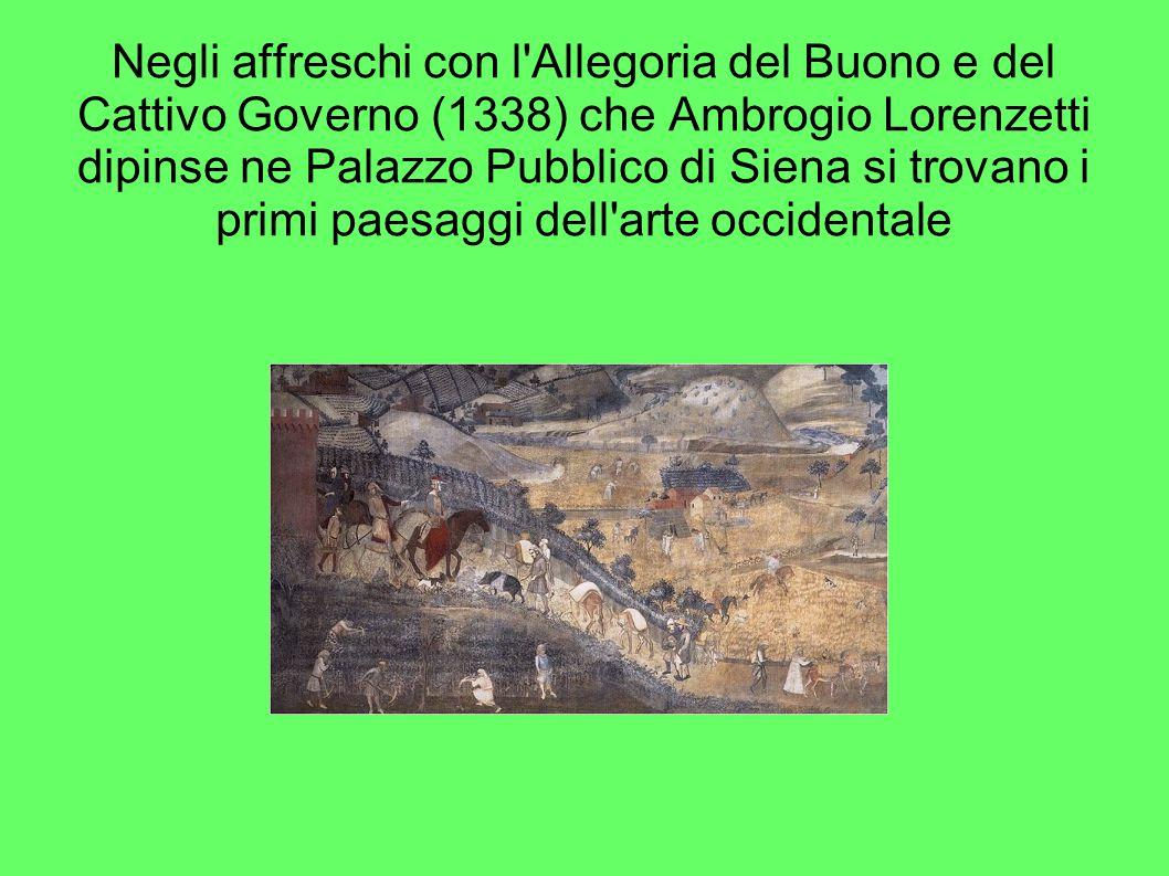 Negli affreschi con l'Allegoria del Buono e del Cattivo Governo (1338) che Ambrogio Lorenzetti dipinse ne Palazzo Pubblico di Siena si trovano i primi