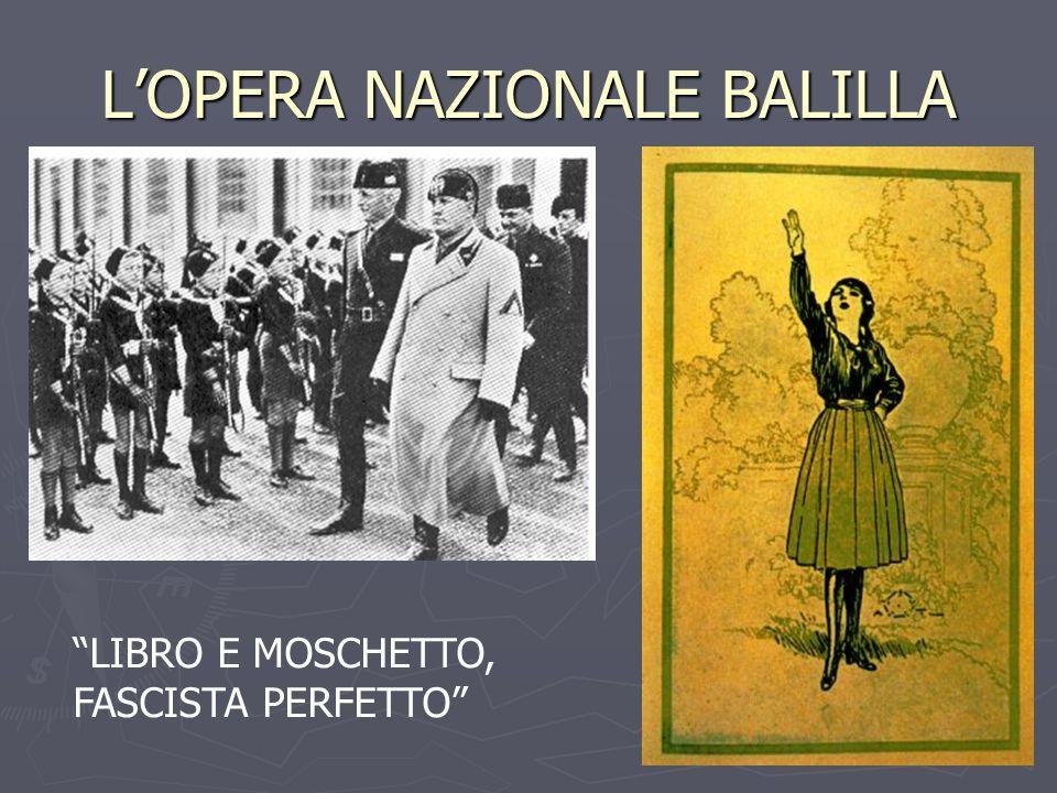 L'OPERA NAZIONALE BALILLA LIBRO E MOSCHETTO, FASCISTA PERFETTO