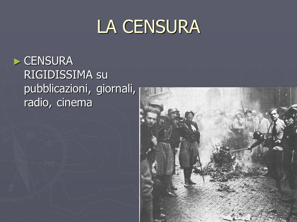 LA CENSURA ► CENSURA RIGIDISSIMA su pubblicazioni, giornali, radio, cinema