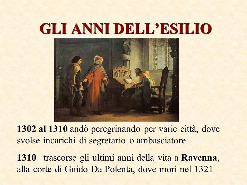 GLI ANNI DELL'ESILIO 1302 al 1310 andò peregrinando per varie città, dove svolse incarichi di segretario o ambasciatore 1310 trascorse gli ultimi anni della vita a Ravenna, alla corte di Guido Da Polenta, dove morì nel 1321