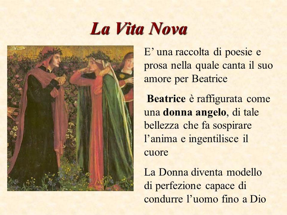 La Vita Nova E' una raccolta di poesie e prosa nella quale canta il suo amore per Beatrice Beatrice è raffigurata come una donna angelo, di tale bellezza che fa sospirare l'anima e ingentilisce il cuore La Donna diventa modello di perfezione capace di condurre l'uomo fino a Dio