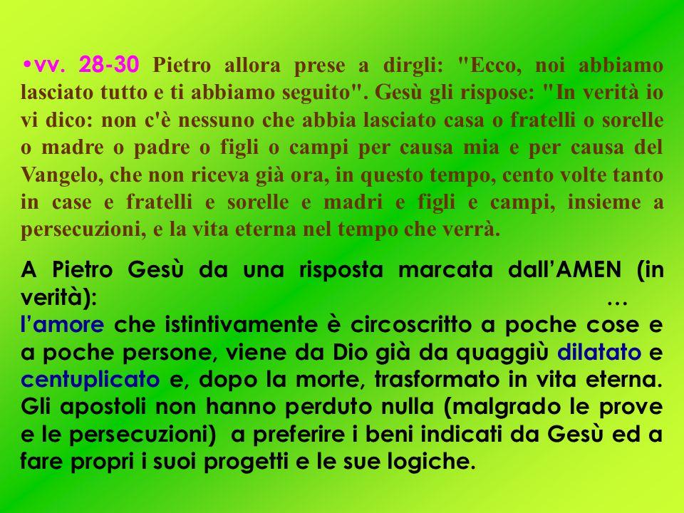 vv. 28-30 Pietro allora prese a dirgli: