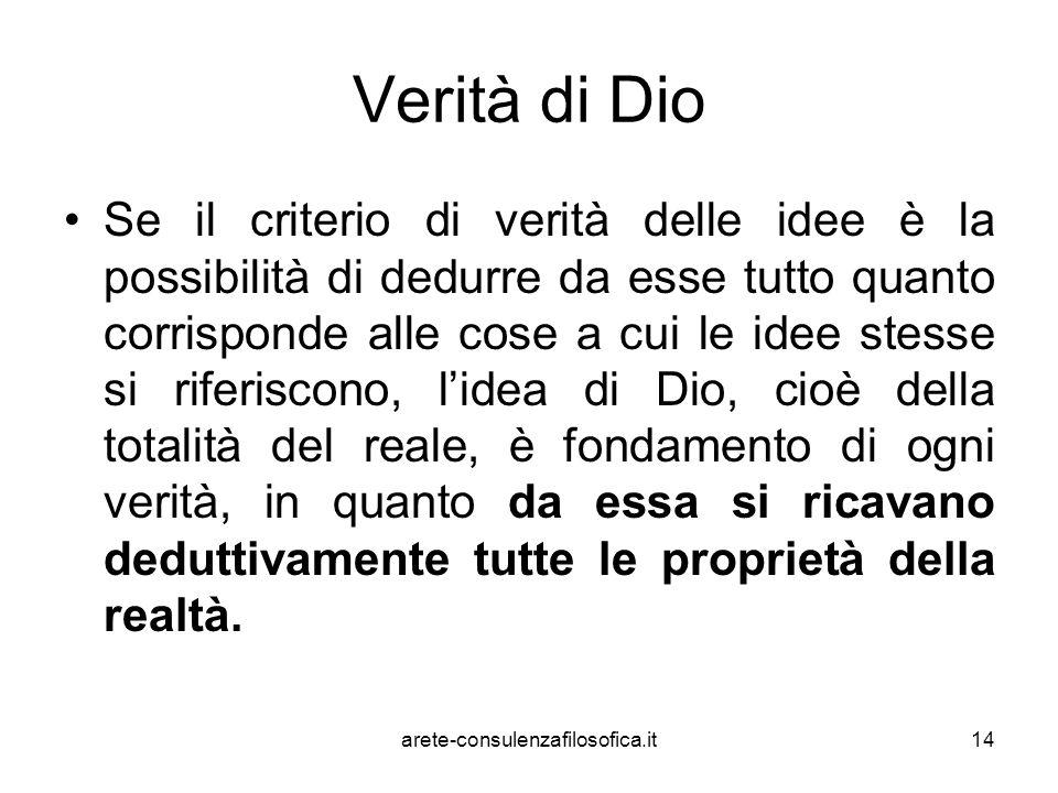 14 Verità di Dio Se il criterio di verità delle idee è la possibilità di dedurre da esse tutto quanto corrisponde alle cose a cui le idee stesse si ri