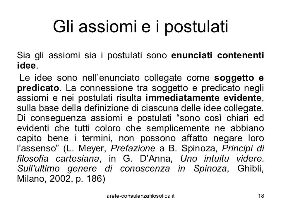 18 Gli assiomi e i postulati Sia gli assiomi sia i postulati sono enunciati contenenti idee. Le idee sono nell'enunciato collegate come soggetto e pre