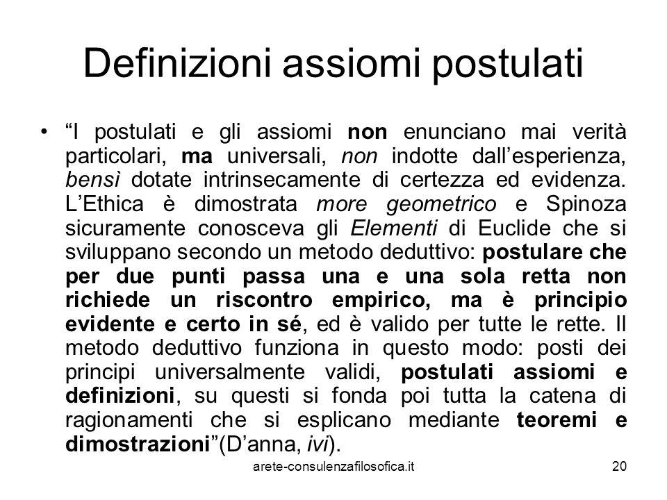 """20 Definizioni assiomi postulati """"I postulati e gli assiomi non enunciano mai verità particolari, ma universali, non indotte dall'esperienza, bensì do"""