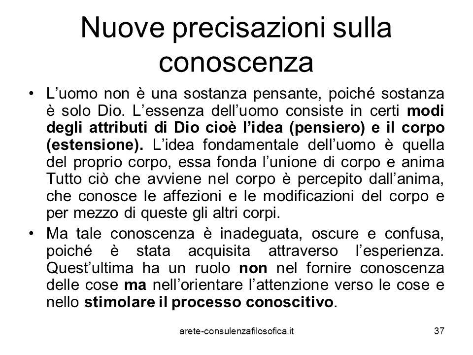 37 Nuove precisazioni sulla conoscenza L'uomo non è una sostanza pensante, poiché sostanza è solo Dio. L'essenza dell'uomo consiste in certi modi degl