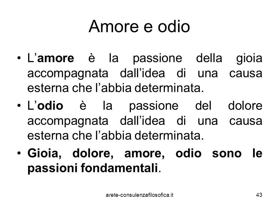 Amore e odio L'amore è la passione della gioia accompagnata dall'idea di una causa esterna che l'abbia determinata. L'odio è la passione del dolore ac