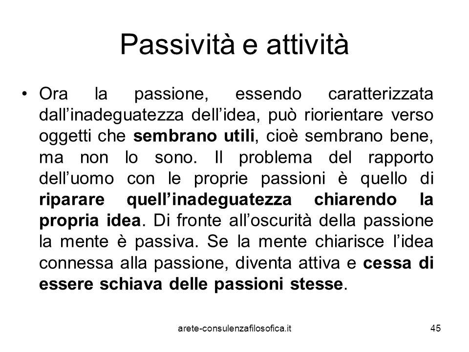 Passività e attività Ora la passione, essendo caratterizzata dall'inadeguatezza dell'idea, può riorientare verso oggetti che sembrano utili, cioè semb